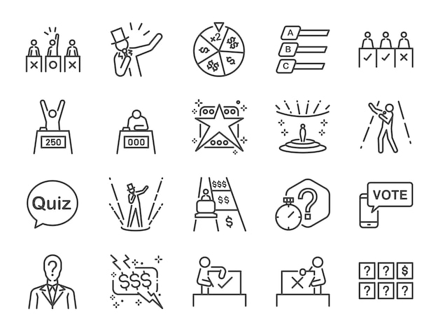 Game show conjunto de ícones.
