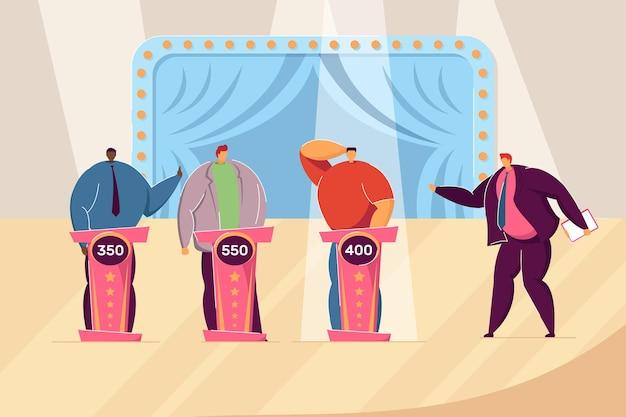 Game show na tv. anfitrião dos desenhos animados fazendo perguntas aos participantes no programa, meninos resolvendo enigmas ilustração vetorial plana. televisão, conceito de competição para banner, design de site ou página de destino