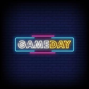 Gameday neon signs estilo de texto