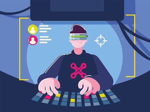 Gamer com óculos vr para entretenimento digital