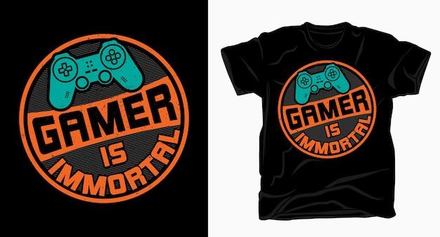 Gamer é uma tipografia imortal com controlador para o design de camisetas