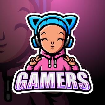 Gamer girl mascote esport ilustração