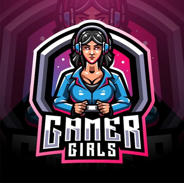 Gamer girls esport mascote logotipo