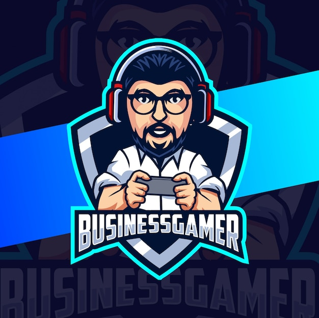 Gamer man personagem mascote logo design