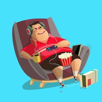 Gamer sentado em casa e jogando videogames.flat ilustração vetorial