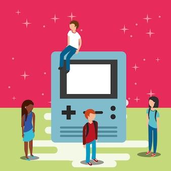 Gamers e videogame de console grande