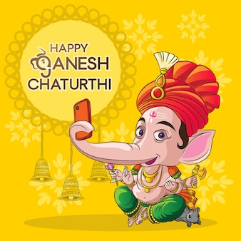 Ganesh feliz clicando em selfie em anesh chaturthi