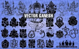 Ganesh silhuetas vetor
