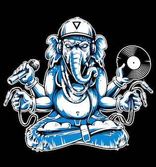 Ganesha com atributos musicais