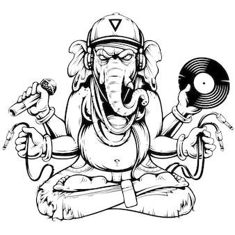 Ganesha com ilustração de atributos musicais