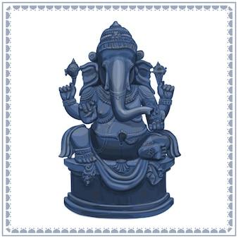 Ganesha Estátua ilustração desenhada mão
