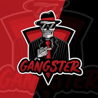 Gangster crânio mascote esport logotipo design