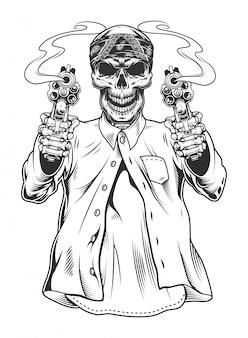 Gangster esqueleto com revólveres