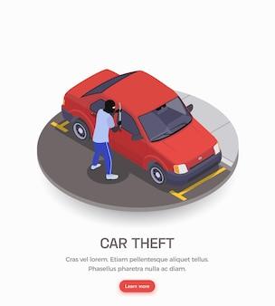 Gangster usando máscara preta cometendo banner de roubo de carro
