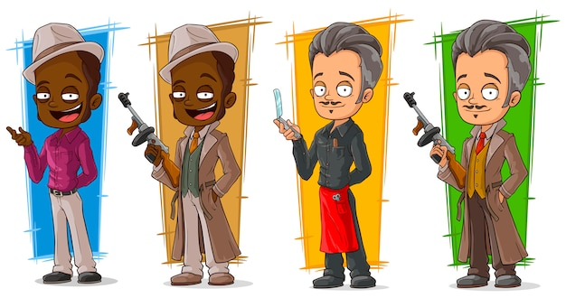 Gangsters dos desenhos animados e conjunto de caracteres de detetive