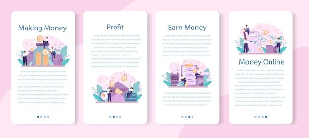 Ganhar dinheiro conjunto de banner de aplicativo móvel. ideia de desenvolvimento de negócios e investimento.