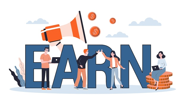 Ganhe a bandeira do conceito. ideia de banca e orçamento pessoal. economia e investimento. ilustração