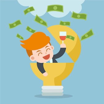 Ganhe dinheiro com a ideia. feliz empresário comemorar o sucesso.