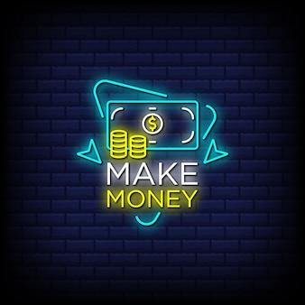 Ganhe dinheiro com o texto do estilo dos sinais de néon