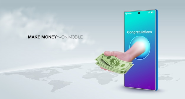 Ganhe dinheiro online com um conceito de negócio de telefone inteligente. venda on-line, transfira dinheiro, faça pagamentos, faça depósitos, trabalhe em qualquer lugar do mundo.