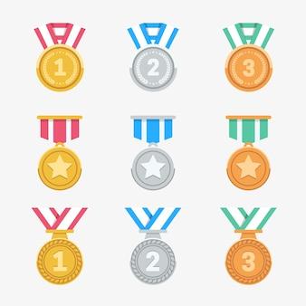 Ganhe o conjunto de medalhas. ícones de prêmio plana na moda.