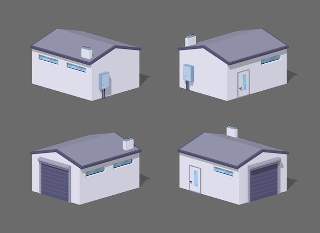 Garagem branca baixa poli
