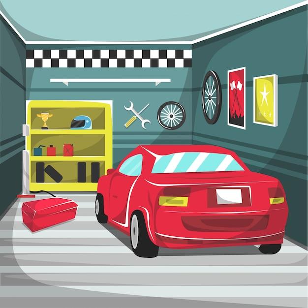 Garagem, carros, correndo, interior