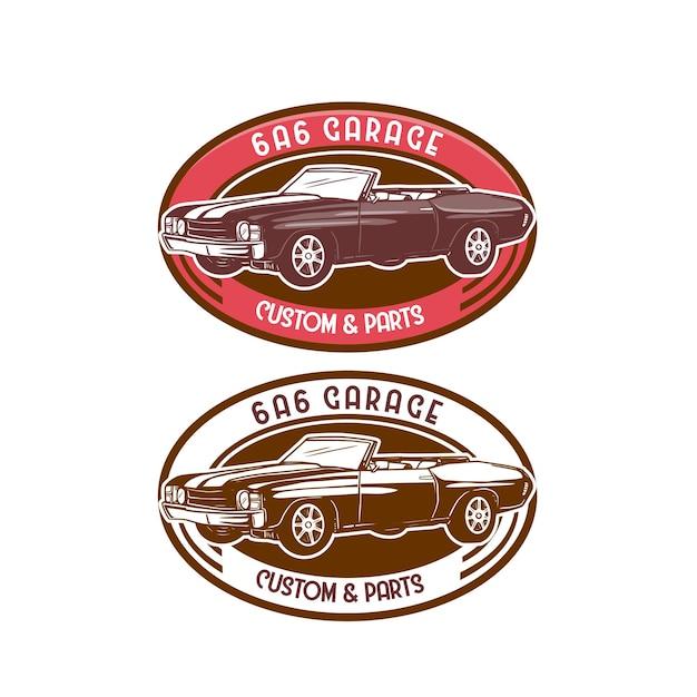 Garagem de crachá de design de logotipo de carro clássico