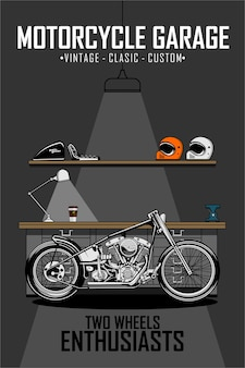 Garagem de motocicleta chooper