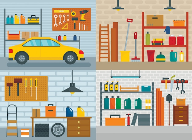Garagem interior do carro