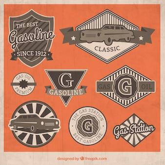 Garagem retro emblemas coleção