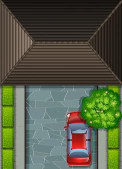 Garagem, telhado, e, carro vermelho