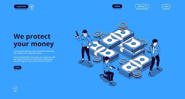 Garanta dinheiro, segurança, página de destino isométrica