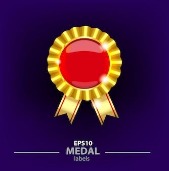 Garantia de qualidade etiquetas douradas. medalhão de ouro com vermelho em volta do centro, medalha para os vencedores