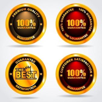 Garantir etiquetas redondas douradas