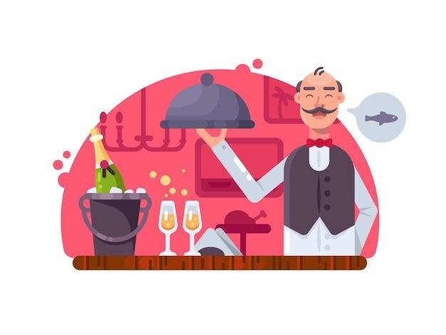 Garçom com prato perto da mesa com champanhe no restaurante. ilustração vetorial