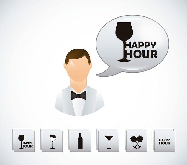 Garçom com símbolos de happy hour sobre o vetor de fundo cinza
