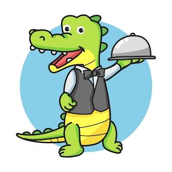 Garçom crocodilo cartoon mascote personagem segurando uma cúpula de prata ou cloche.