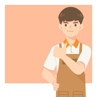 Garçom de café bonito com uniforme de avental, personagem de desenho animado mostrando o polegar para cima pose para ilustração