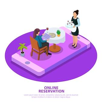 Garçom de composição isométrica de reserva on-line durante o atendimento ao cliente na tela do dispositivo móvel branco roxo