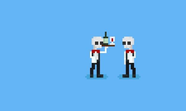 Garçom de esqueleto de pixel