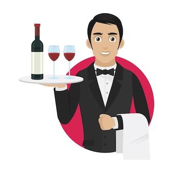 Garçom de ilustração segura bandeja com vinho e taças, formato eps 10
