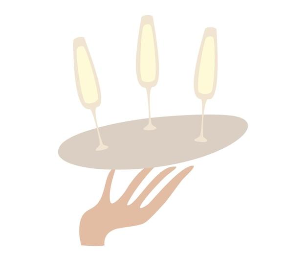 Garçom de mão segurando a bandeja com taças de champanhe conceito para carta de vinhos no menu de bebidas alcoólicas