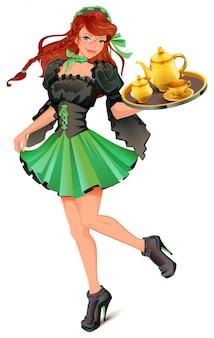 Garçom de mulher bonita carrega bandeja com chá