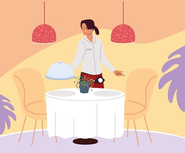 Garçom de uniforme servindo pedido de comida no design de ilustração de mesa
