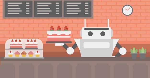 Garçom do robô que trabalha na loja de pastelaria.