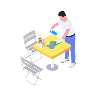 Garçom em luvas de proteção higienizando mesa de café ilustração isométrica ilustração vetorial 3d