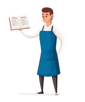Garçom mantém o menu do restaurante. garçom com avental azul. personagem de estilo. ilustração na página do site com fundo branco e no aplicativo móvel