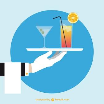 Garçom mão com cocktails