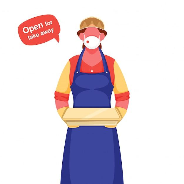 Garçom mulher usar máscara protetora, luvas com segurando o pacote e a mensagem aberta para levar embora durante o coronavírus.